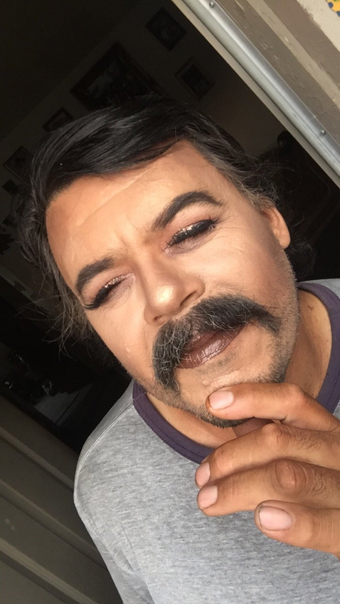"""I always wanted to do his makeup just to see what he'd look like, and he was always like, 'No, you can't do it,'"" Gisela said. ""I was bored at home one day and I asked him again, and he said, 'Alright, just so you stop begging.'"""