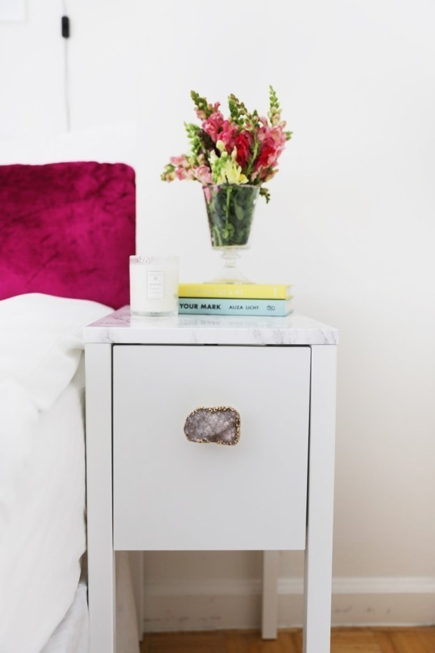 Dress up an end table you already have with marble contact paper.