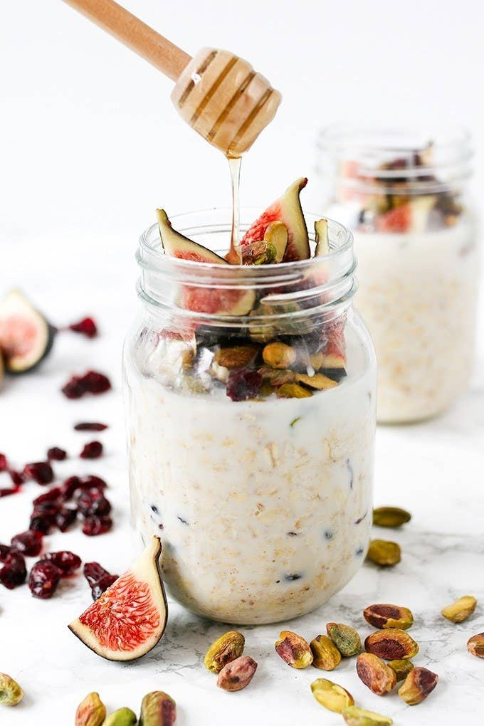 This beautiful breakfast incorporates figs, cranberries, and pistachios – and is finished off with a few drizzles of honey.