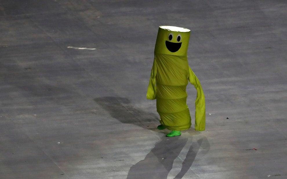 Este muñequito bailó en el pre-show.
