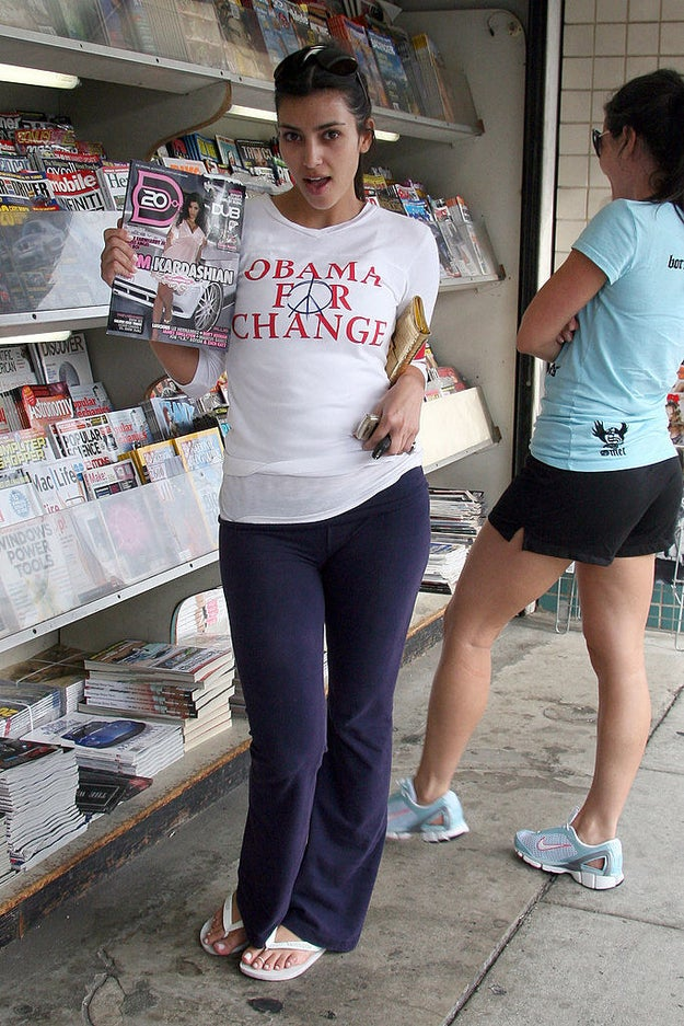 "Wear an ""Obama for Change"" T-shirt for a trip to the news stand to look at herself on the cover of a magazine."
