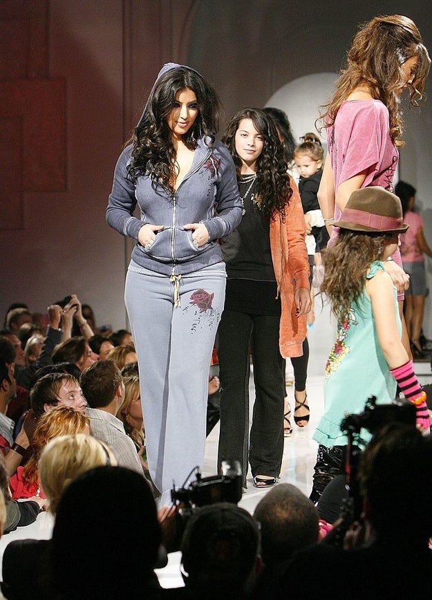 Participate in a catwalk show wearing a full velour tracksuit.