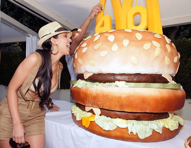 Attend a McDonald's event and pretend to eat a gigantic Big Mac.