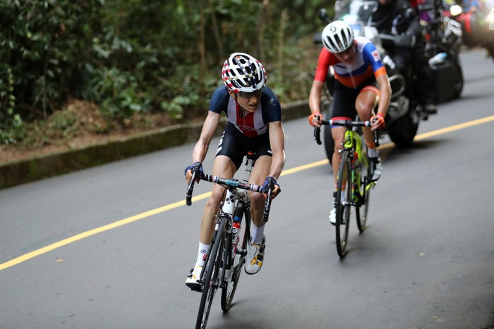 Abbott led the pack up one of the course's hardest climbs, Vista Chinesa, during the almost four-hour race. She watched as Dutch rider Annemie van Vleuten suffered a horrific crash on the downhill, then pushed ahead.