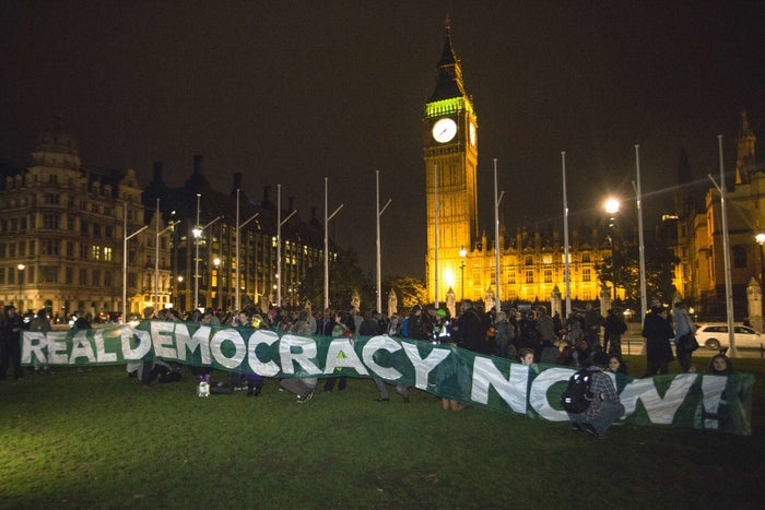 An Occupy protest outside Parliament