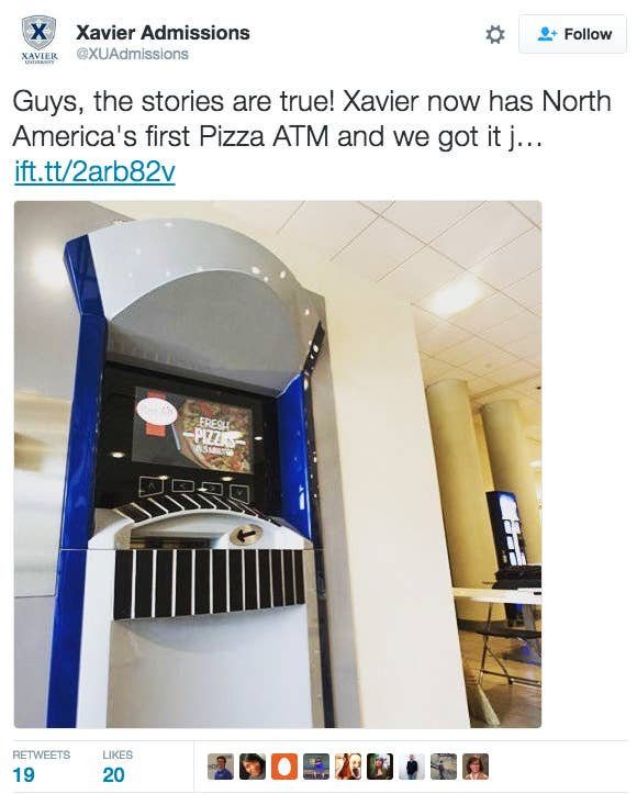 This tall drink of water belongs to the dining hall at Xavier University in Cincinnati, OH.