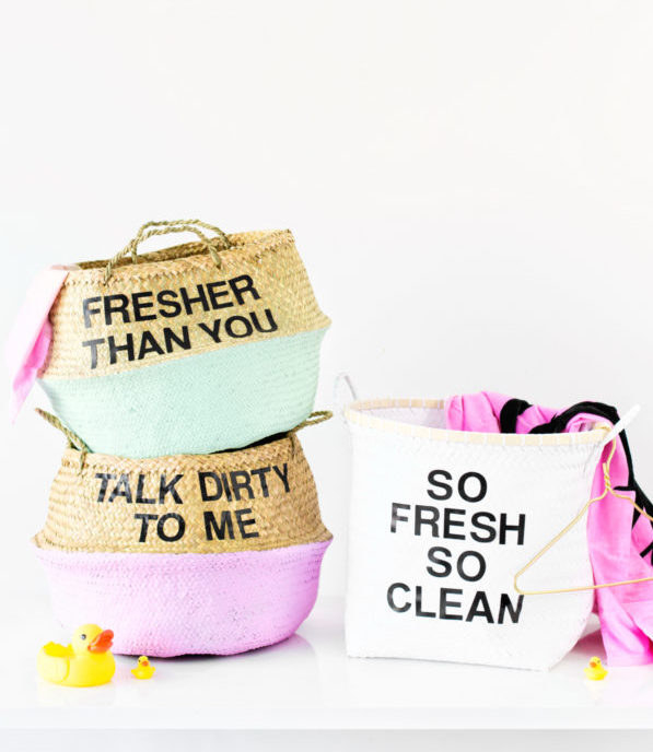 Use 2'' letter stickers to paste your favorite funny laundry quote on your laundry hamper.