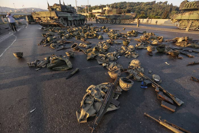 Abandoned uniforms and weapons on Bosphorus bridge the morning after the failed coup.