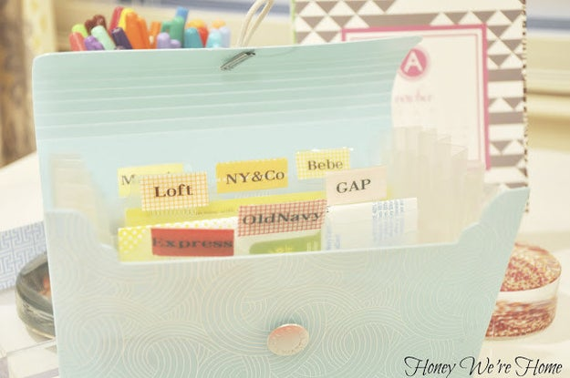 Instead of storing coupons somewhere that you'll always forget them (like the depths of your purse or wallet, or, worse, somewhere at home), keep them in an accordion file in your bag.