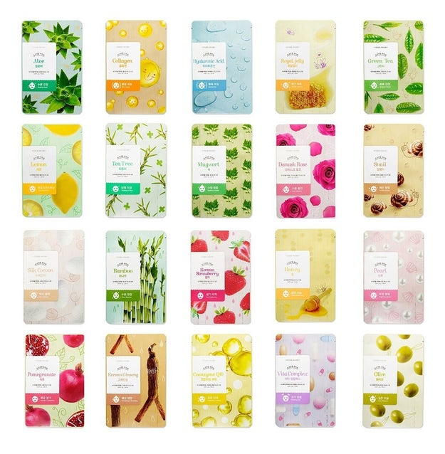A set of twenty (yes, TWENTY) Korean sheet masks.