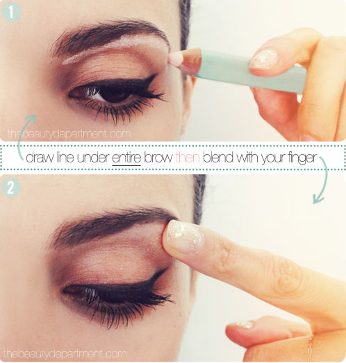 Add some height to the arch of your eyebrows by blending highlighter directly under your brow.