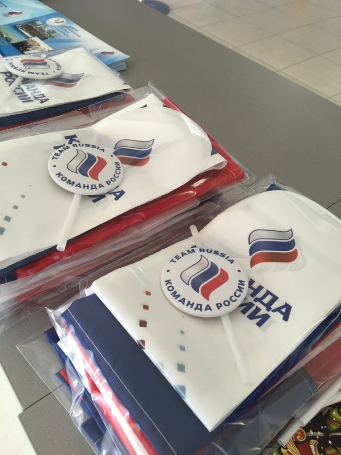 Memorabilia distributed at the Russian Fans House in Copacabana.