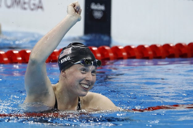 Ladies and gentleman, let me introduce you to newly minted gold medalist Lilly King. She just won the 100 meter breaststroke and did so in truly ICONIC fashion.
