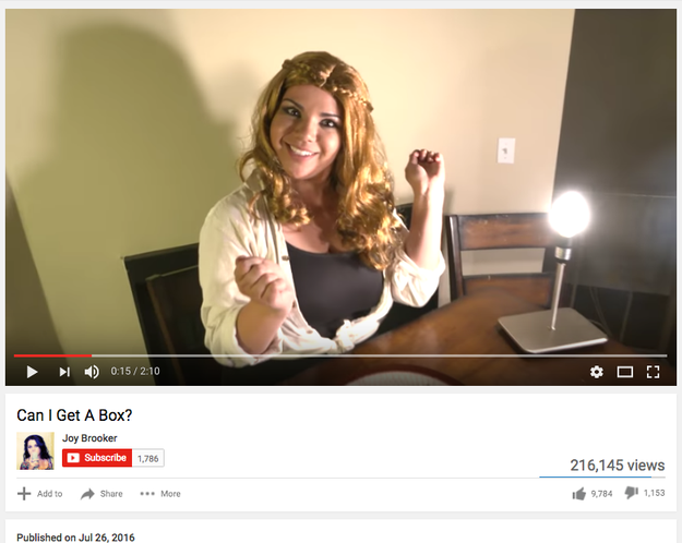 "Back in July, comedian Joy Brooker uploaded a song to her YouTube channel called ""Can I Get A Box?"""