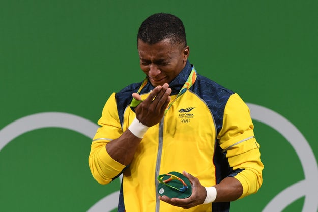The Colombians in the crowd boomed with pride when the gold medal was placed around his neck, before leading a boisterous rendition of their national anthem.