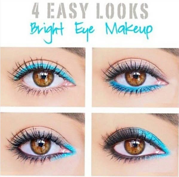 21 eye makeup tips beginners secretly want to know play around with bright eyeliner by only applying it to certain areas bright eye makeup ccuart Images