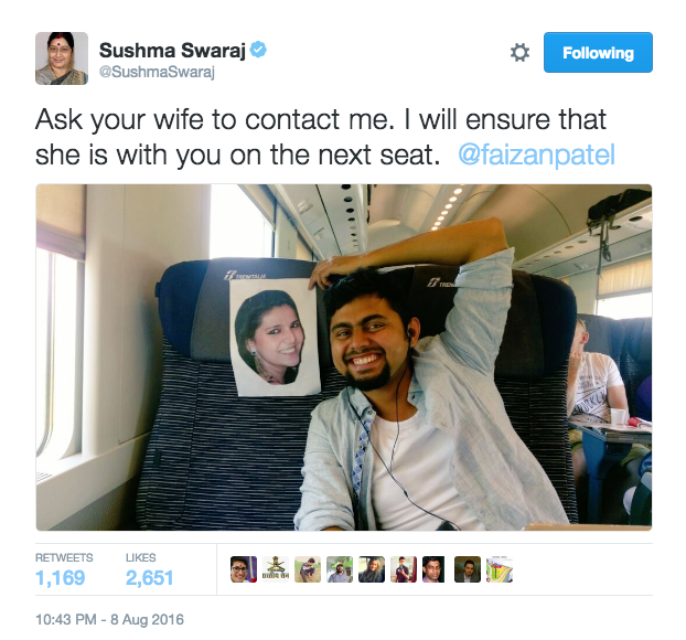 But being the boss that she is, Swaraj replied anyway, promising to reunite the couple ASAP.