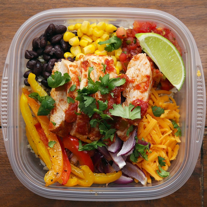 Serves 4–6INGREDIENTS2–3 boneless skinless chicken breasts3 bell peppers, any color, sliced1 large red onion, sliced2 tablespoons olive oil1 tablespoon taco seasoningSalt and pepper1 jar salsa3 cups cooked brown rice, divided1 can black beans, drained and rinsed1 can corn1 cup shredded cheddar cheese1 lime, sliced into wedges Fresh cilantro to garnishPREPARATION1. Preheat oven to 400˚F/200˚C.2. Line a baking sheet with foil.3. Place the chicken, peppers, and onions on the baking sheet and drizzle with oil.4. Sprinkle the taco seasoning evenly over both sides of the chicken breasts. 5. Salt and pepper the peppers and onions, tossing to coat. 6. Top each chicken breast with a generous pour of salsa.7. Bake in a preheated oven for 25 minutes. 8. Rest chicken for 10 minutes, before slicing into strips. 9. Add a base of brown rice to 4 food storage containers. Top each with a scoop of black beans, corn, additional salsa, cheddar cheese, cooked peppers and onions, and sliced chicken. Garnish with fresh cilantro and a lime wedge.10. Store in the refrigerator (and enjoy any extras immediately). Can be kept refrigerated for up to 4 days. 11. Meal-prep FTW! Enjoy!