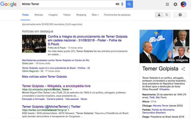 Mesmo as buscas do Google ficam diferentes.