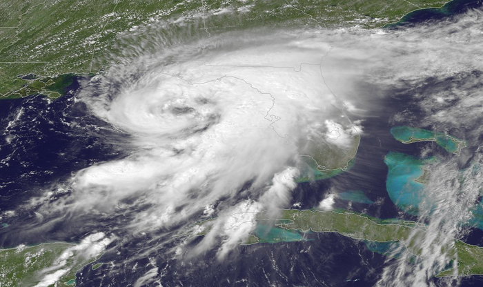 Satellite shows Hurricane Hermine strengthening in the Gulf of Mexico on Thursday.
