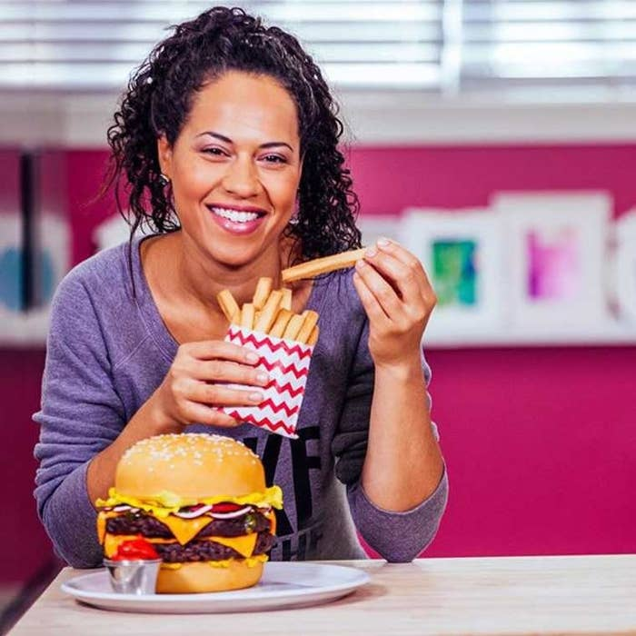 Here's Yolanda with her homemade burger cake— yes, that's right, that's cake!