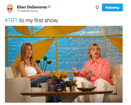 Ellen took us back to 2003, when Jennifer Aniston was the very first guest on her show.
