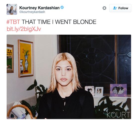 Kourtney Kardashian remembered when she had blonde ambitions.