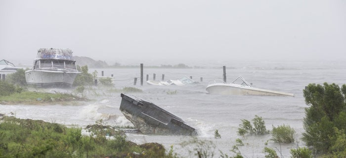 Boats line the shoreline as Hurricane Hermine approaches Thursday in Eastpoint, FL.