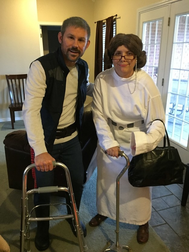Elderly Han and Leia, in anticipation of the new Star Wars movies: