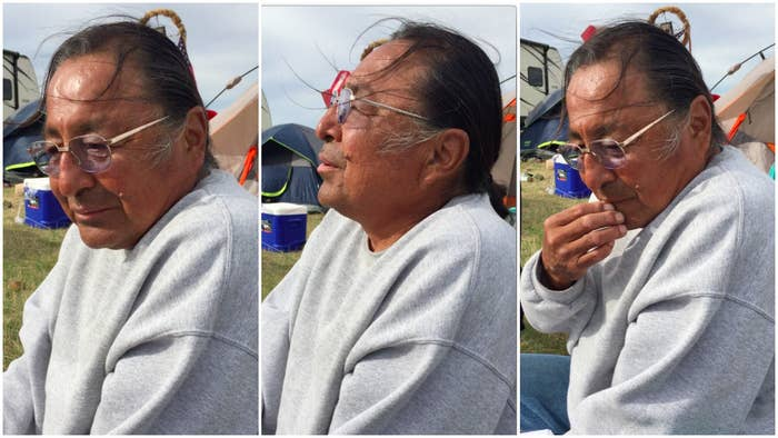 M. Jay Cook, a member of the Cheyenne River Sioux Tribe, at Sacred Stone Camp.