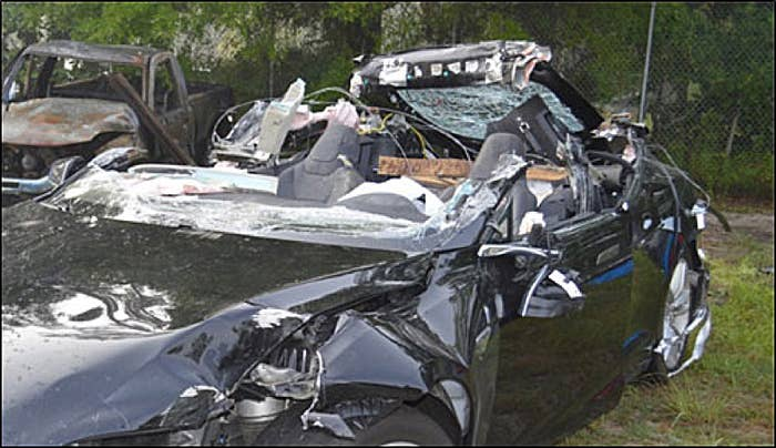 Joshua Brown's Model S after May's fatal crash.