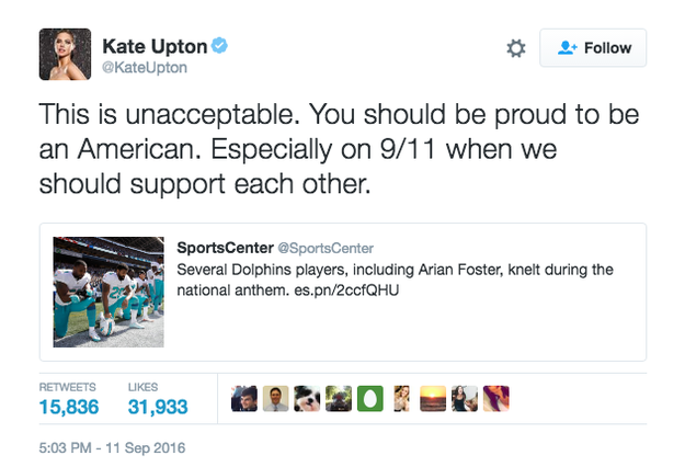 Football players for the Miami Dolphins kneeled during the National Anthem, which prompted Upton to send the following tweet: