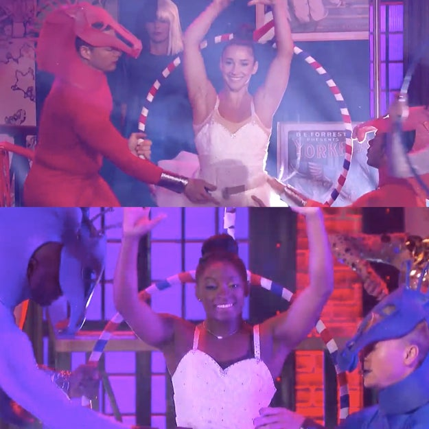 """Lip Sync Battle was intense this week. Olivia Munn pulled out all the stops and recruited Simone Biles and Aly Raisman to help her perform Sia's """"Cheap Thrills."""""""