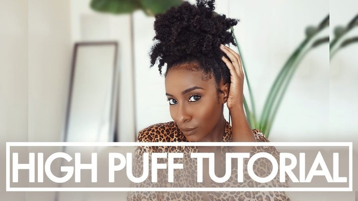 Channel: Ambrosia MalbroughOutlet: YouTubeWe can always count on Ambrosia Malbrough to give us LIIIIIFE! The YouTube and social media star does a quick and easy tutorial for achieving this chic Afro puff. She applies a little oil and edge control to an old braid-out, stretching her hair up into the direction of where the puff will be. She secures it with a hair hook, but naturals can also use any elastic hair band. The size of the band will vary depending on how full your natural hair is. Watch Malbrough get the quick and easy style here.