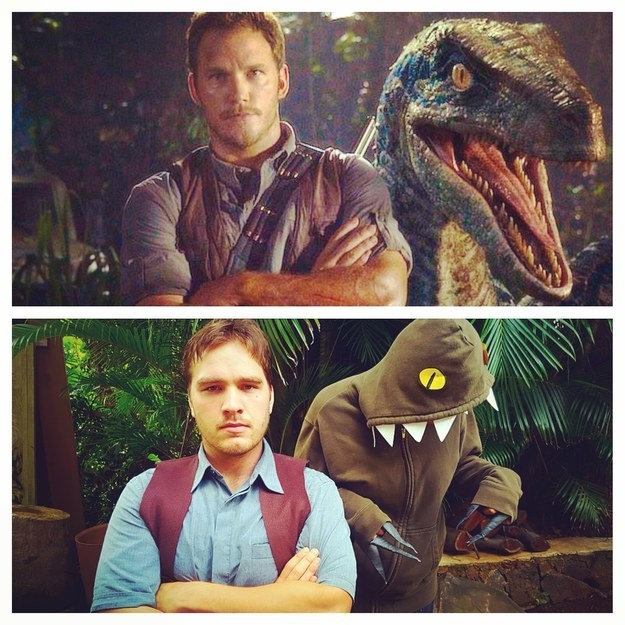 Chris Pratt and Blue from Jurassic World