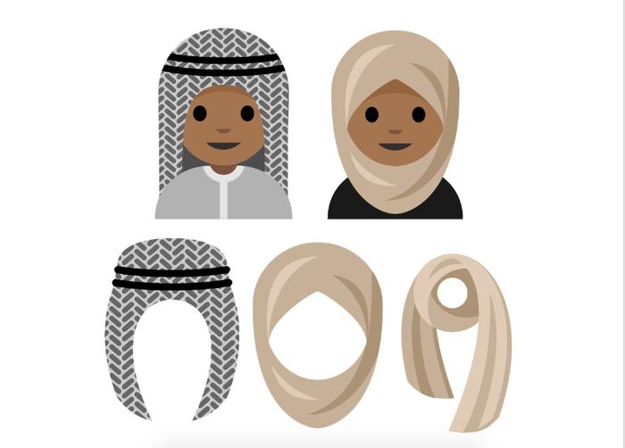A mockup of a potential hijab emoji.