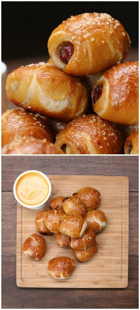 Pigs in a blanket + easy pretzel dough = deliciousness. Recipe here.