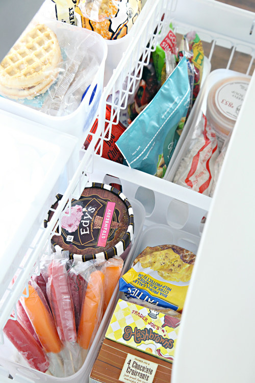 Revamp your drawer freezer by categorizing everything in deep, narrow bins.