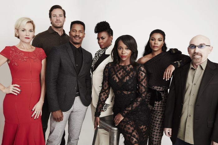 Penelope Ann Miller, Armie Hammer, Parker, Aunjanue Ellis, Aja Naomi King, Union, and Jackie Earle Haley of The Birth of a Nation pose for a portrait during the 2016 Toronto International Film Festival at the Intercontinental Hotel on Sept. 9, 2016.