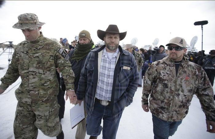 Ammon Bundy, center.