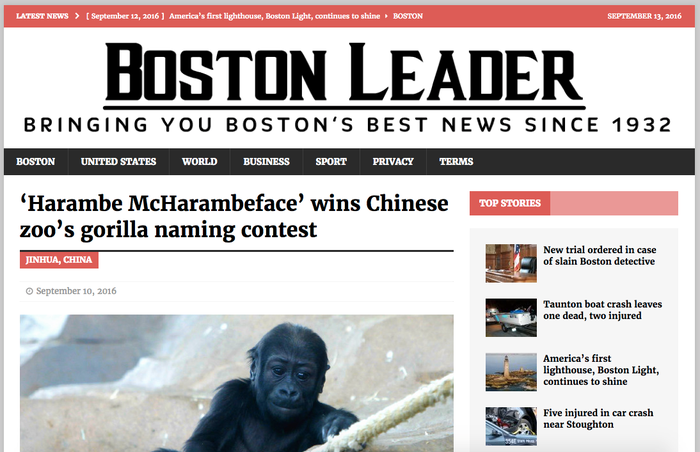 """The story goes that Jinhua Zoo opened up an online poll to name an infant gorilla — originally named Heijin in Chinese. After the poll was discovered on """"social media in the US"""", the name """"Harambe McHarambeface"""" ended up topping the poll with 73,347 votes. The story goes so far as to quote an anonymous zoo official who told """"local media"""" that they were stunned by the attention and plan to honor the online poll."""