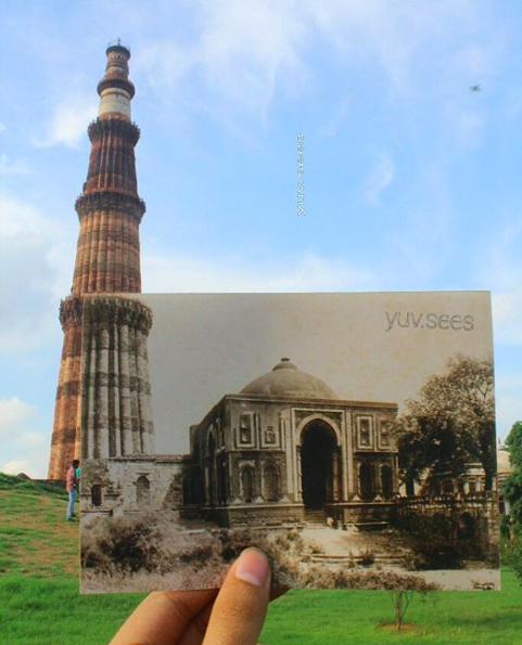 Here, for example, is Qutub Minar in the 1800s against the real deal.