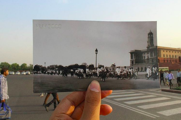 This is what Rashtrapati Bhavan and the traffic around it looked like in the 1950s.