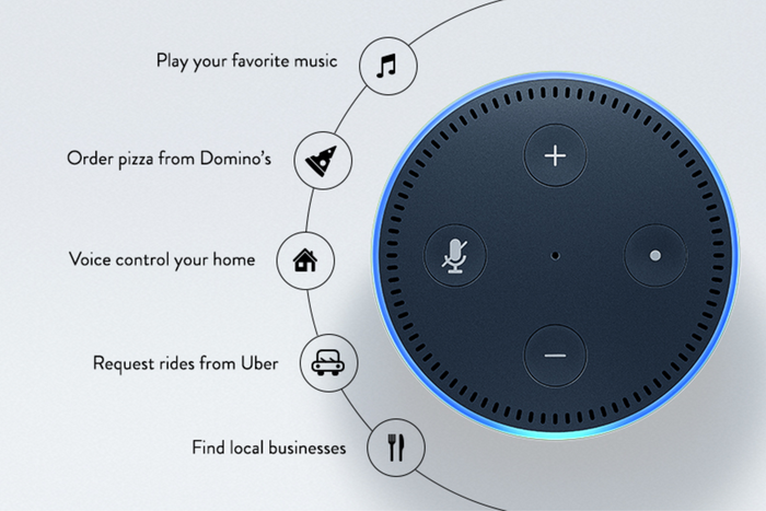 """Some Echo dot reviews cited voice recognition inferior to the larger Amazon Echo. To power the device's seven microphones, the second-generation Dot includes an improved speech processor that can recognize when you say the Dot's wake word (either """"Amazon"""" or """"Alexa"""") with more accuracy."""