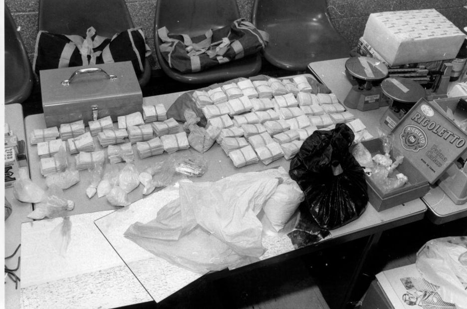 Heroin and cocaine were seized in a bust was in excess of 2 million dollars in Harlem, June 1980.