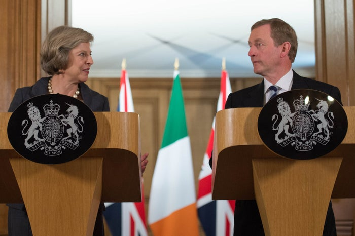 Britain's prime minister Theresa May and Irish taoiseach Enda Kenny hold a joint news conference.