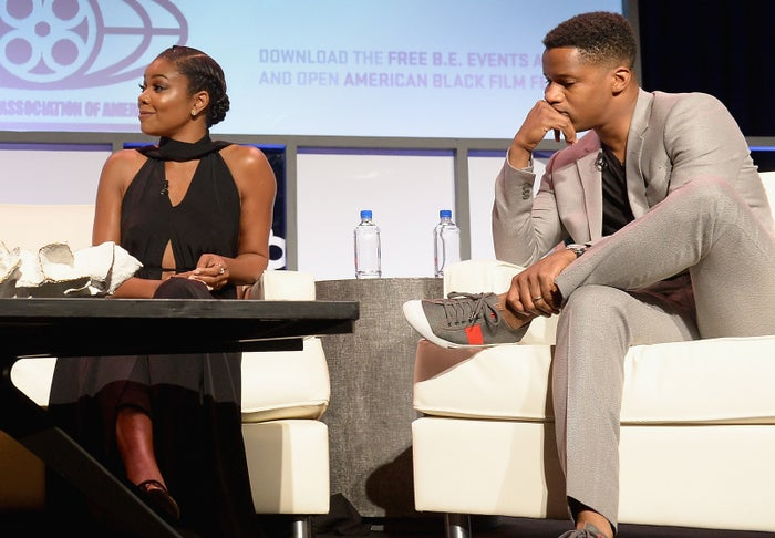 Gabrielle Union and Nate Parker attend The American Black Film Festival first look at The Birth Of A Nation on June 17, 2016 in Miami Beach, Florida.