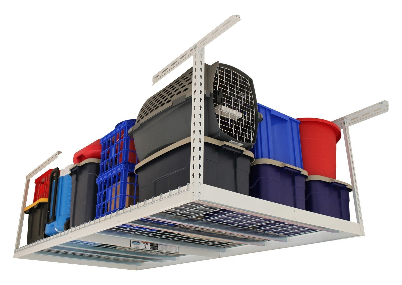 This sturdy overhead storage system designed to fit snugly above a raised garage door will get goods up off the floor.