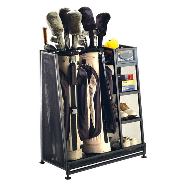 This handy golf equipment shelf can serve as your personal garage caddy off the green.