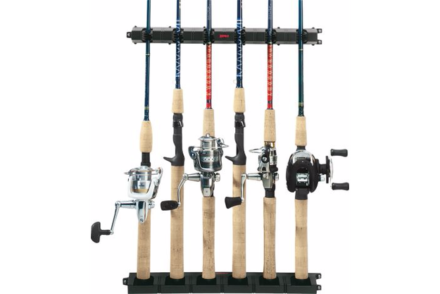 This mounted fishing rod rack will keep gear in place.
